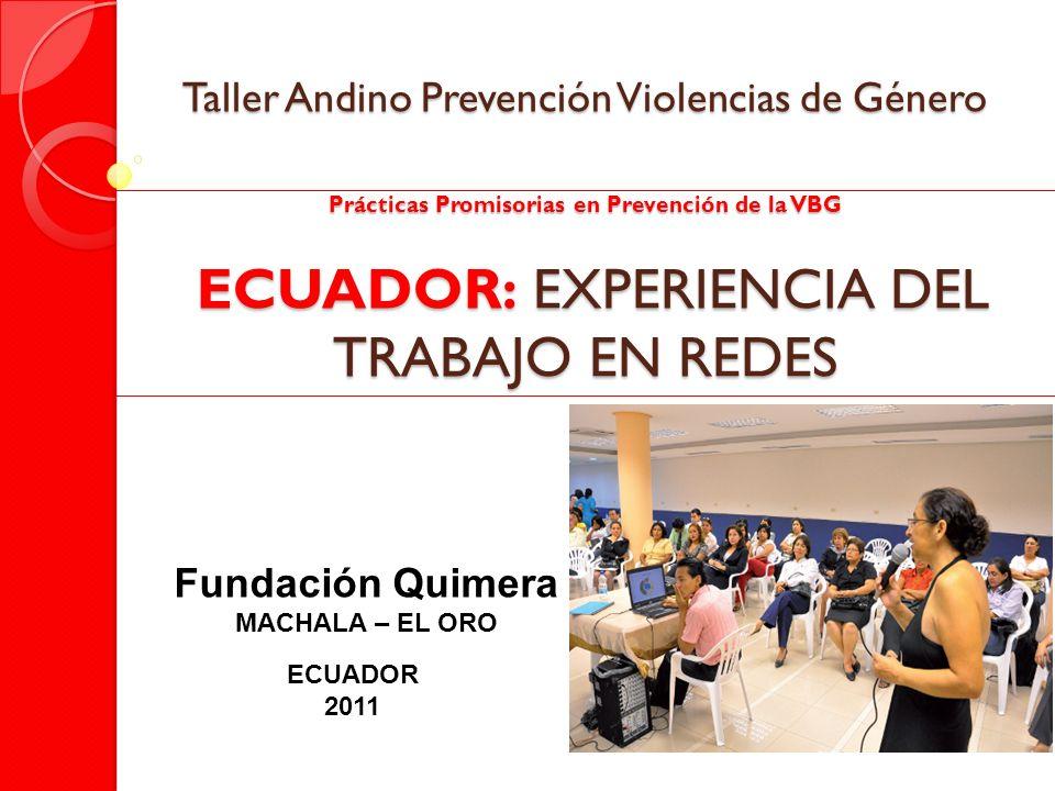 Taller Andino Prevención Violencias de Género Prácticas Promisorias en Prevención de la VBG ECUADOR: EXPERIENCIA DEL TRABAJO EN REDES