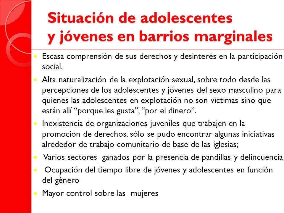 Situación de adolescentes y jóvenes en barrios marginales