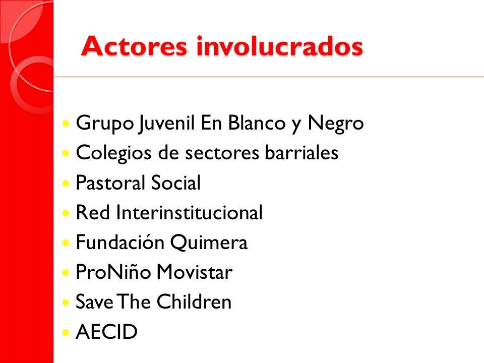 Actores involucrados Grupo Juvenil En Blanco y Negro
