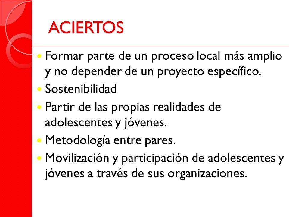 ACIERTOS Formar parte de un proceso local más amplio y no depender de un proyecto específico. Sostenibilidad.