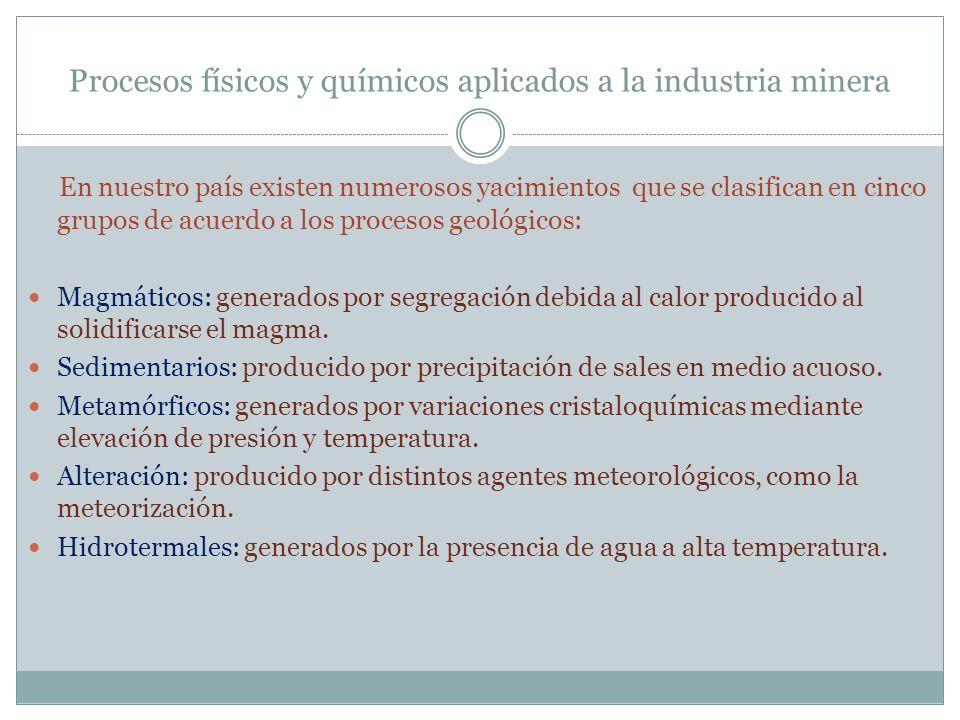 Procesos físicos y químicos aplicados a la industria minera