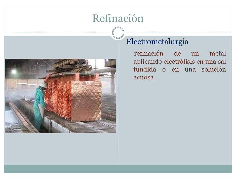 Refinación Electrometalurgia refinación de un metal aplicando electrólisis en una sal fundida o en una solución acuosa