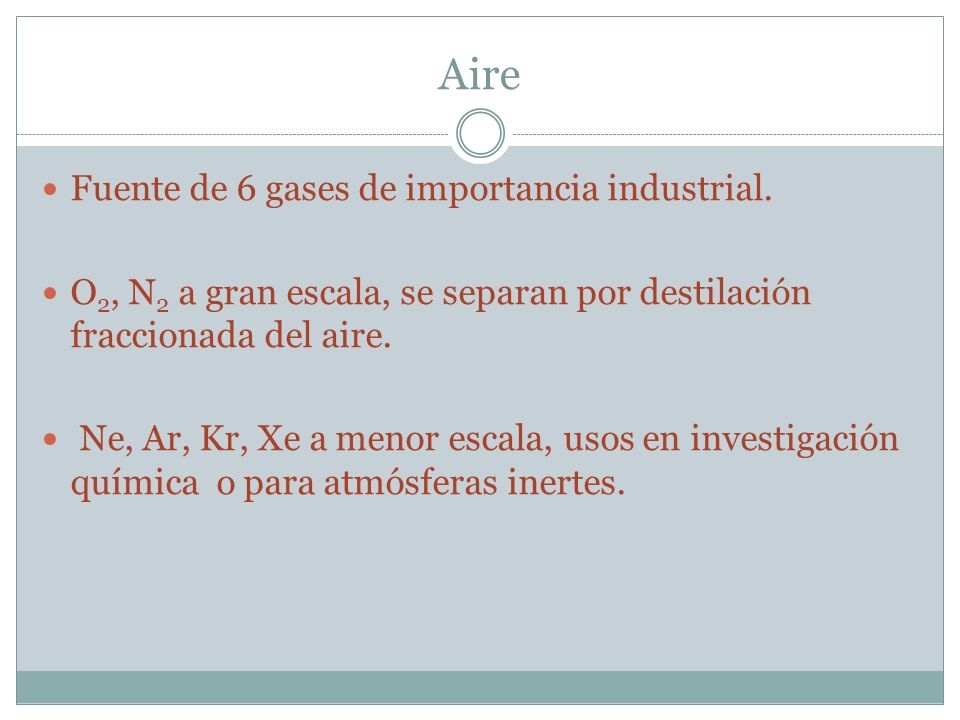 Aire Fuente de 6 gases de importancia industrial.