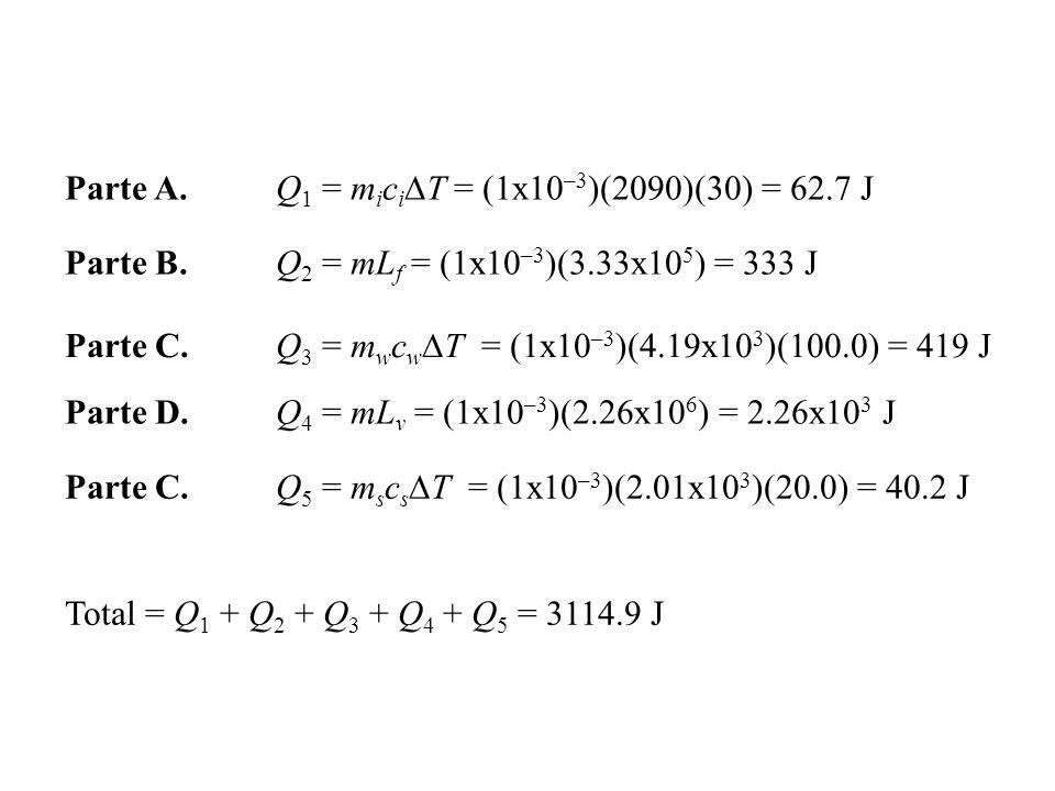 Parte A. Q1 = miciDT = (1x10–3)(2090)(30) = 62.7 J
