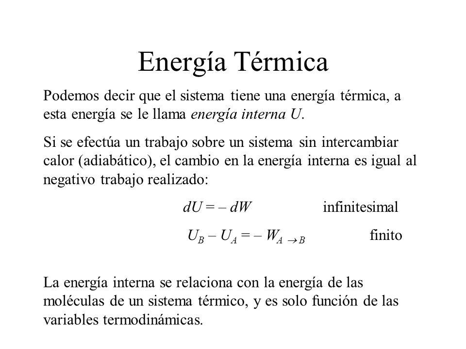 Energía Térmica Podemos decir que el sistema tiene una energía térmica, a esta energía se le llama energía interna U.