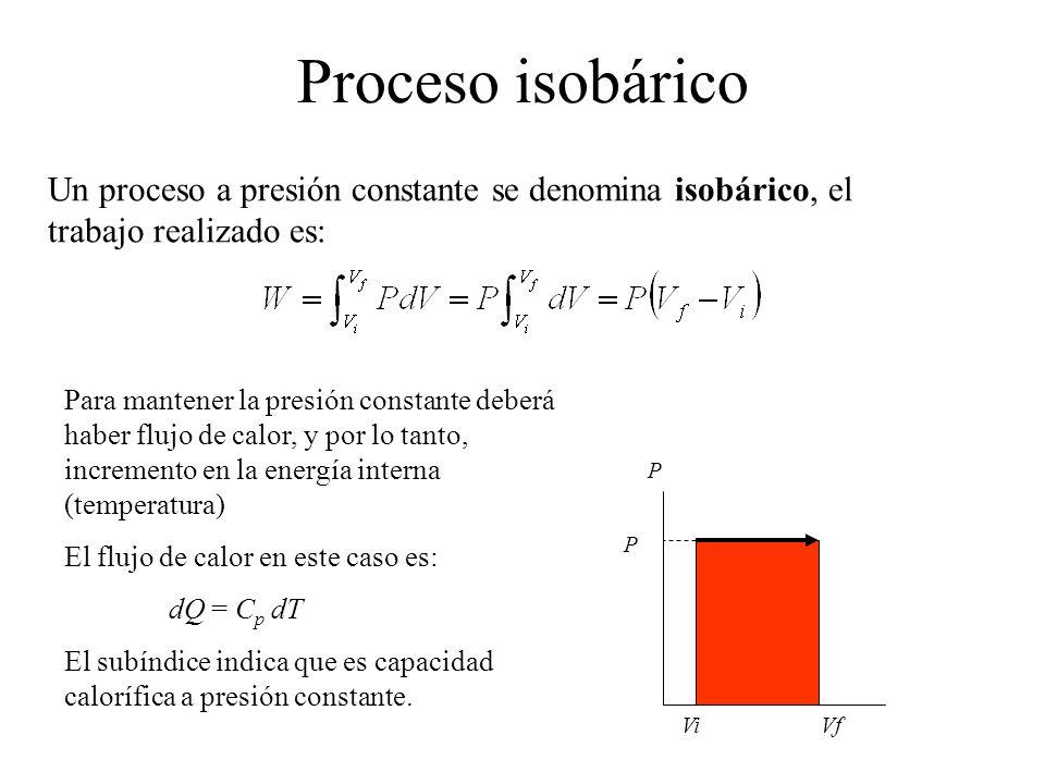 Proceso isobárico Un proceso a presión constante se denomina isobárico, el trabajo realizado es: