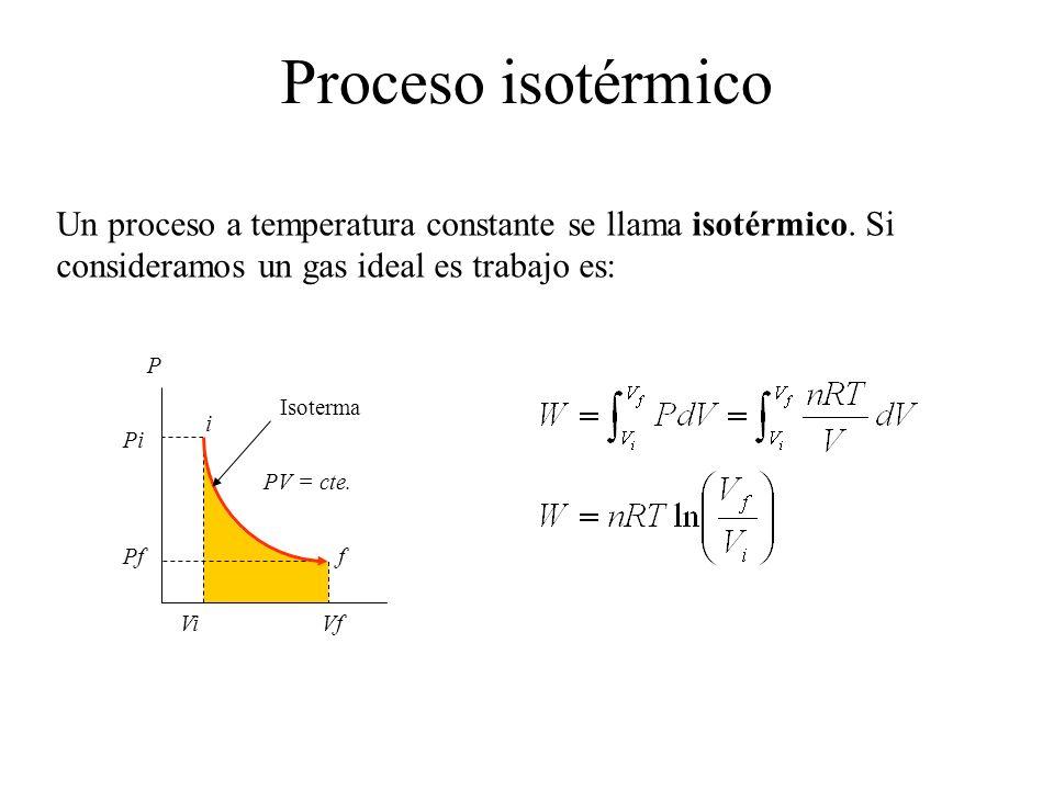 Proceso isotérmico Un proceso a temperatura constante se llama isotérmico. Si consideramos un gas ideal es trabajo es: