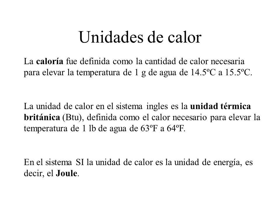 Unidades de calor La caloría fue definida como la cantidad de calor necesaria para elevar la temperatura de 1 g de agua de 14.5ºC a 15.5ºC.