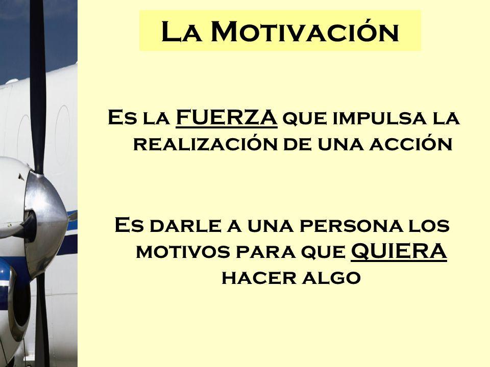 La Motivación Es la FUERZA que impulsa la realización de una acción