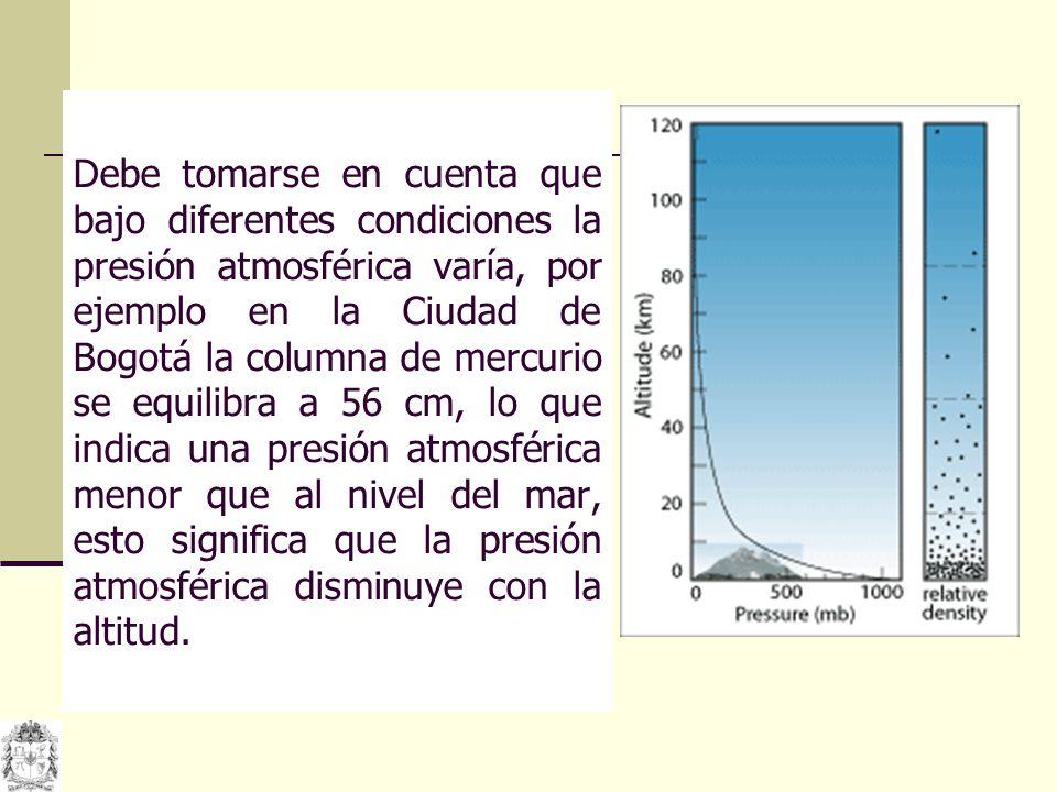 Debe tomarse en cuenta que bajo diferentes condiciones la presión atmosférica varía, por ejemplo en la Ciudad de Bogotá la columna de mercurio se equilibra a 56 cm, lo que indica una presión atmosférica menor que al nivel del mar, esto significa que la presión atmosférica disminuye con la altitud.
