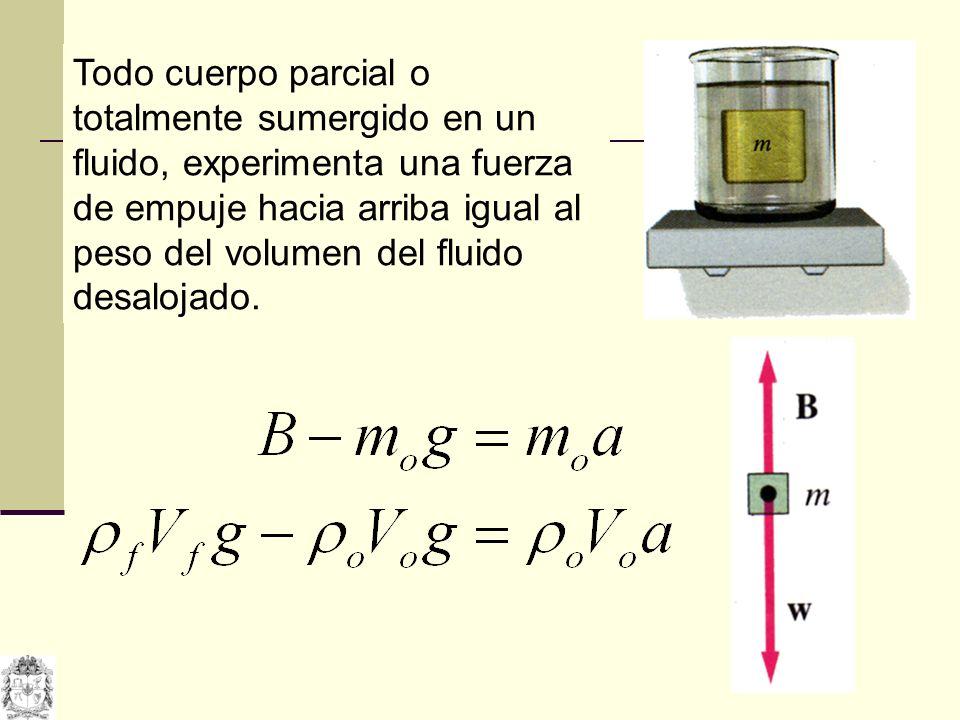 Todo cuerpo parcial o totalmente sumergido en un fluido, experimenta una fuerza de empuje hacia arriba igual al peso del volumen del fluido desalojado.