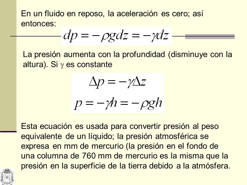 En un fluido en reposo, la aceleración es cero; así entonces: