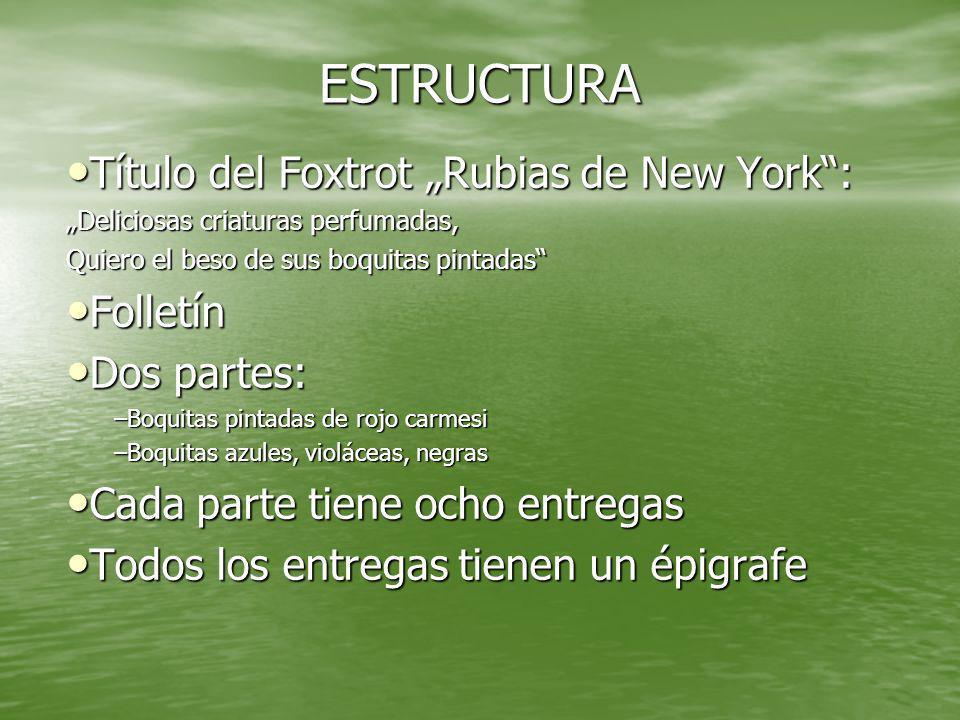 """ESTRUCTURA Título del Foxtrot """"Rubias de New York : Folletín"""