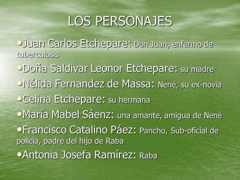 LOS PERSONAJES Juan Carlos Etchepare: Don Juan, enfermo de tuberculosis. Doña Saldivar Leonor Etchepare: su madre.