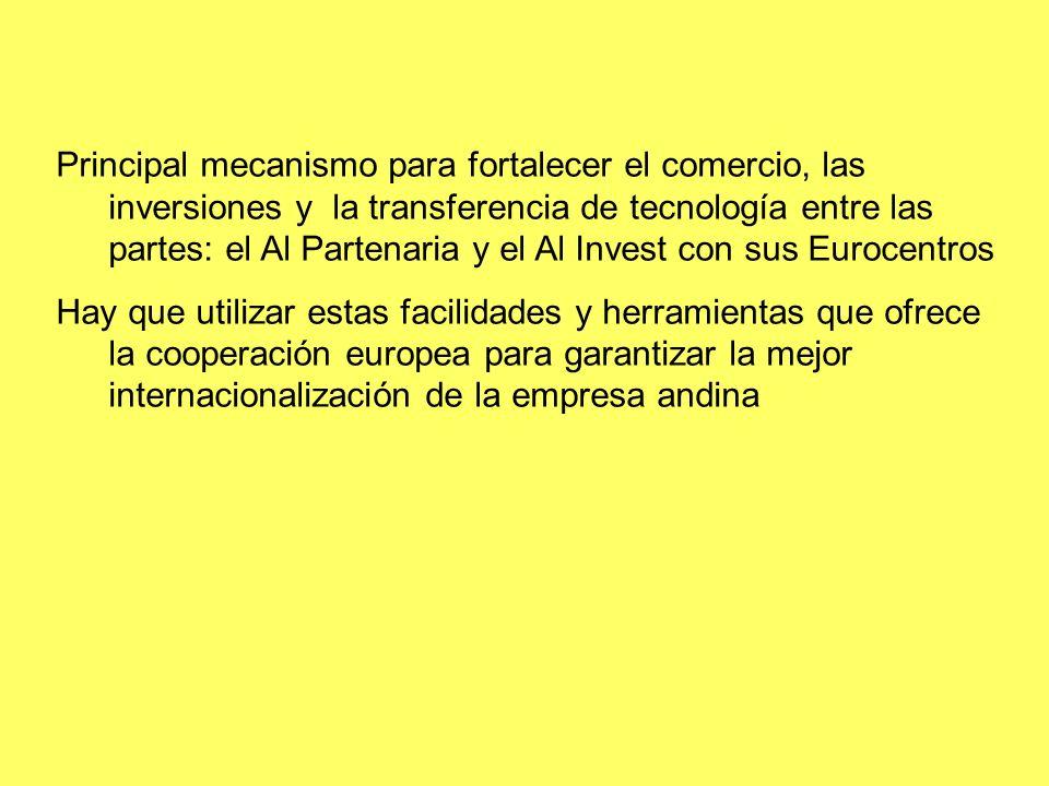 Principal mecanismo para fortalecer el comercio, las inversiones y la transferencia de tecnología entre las partes: el Al Partenaria y el Al Invest con sus Eurocentros