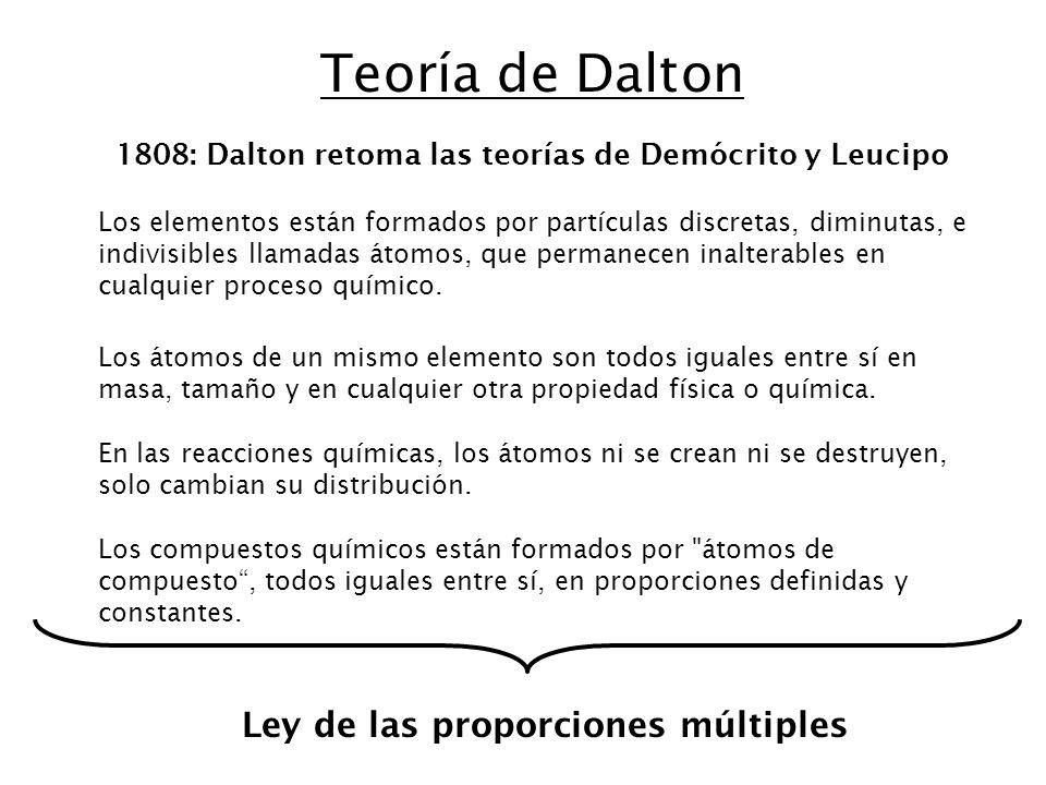 Teoría de Dalton Ley de las proporciones múltiples