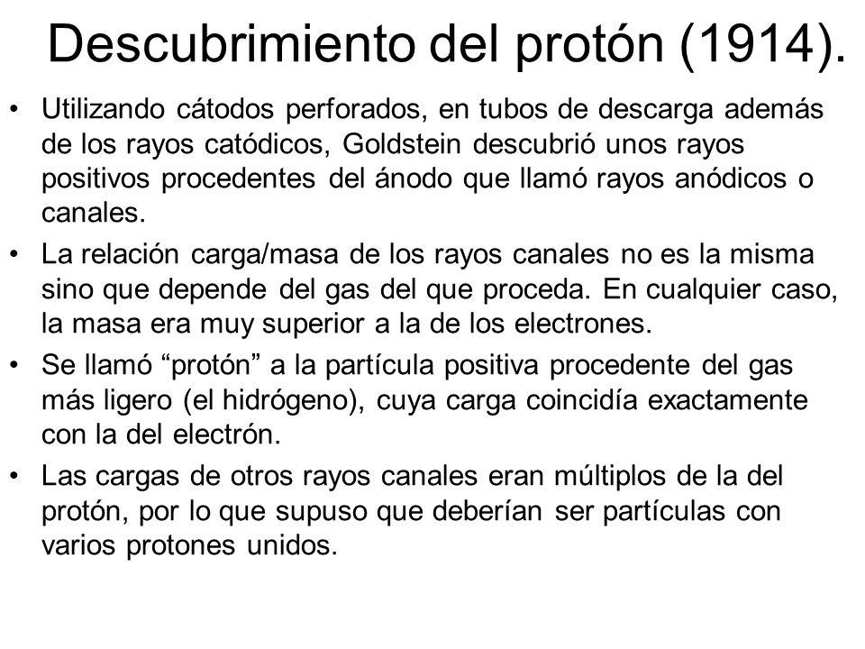 Descubrimiento del protón (1914).