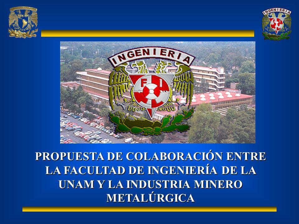 PROPUESTA DE COLABORACIÓN ENTRE LA FACULTAD DE INGENIERÍA DE LA UNAM Y LA INDUSTRIA MINERO METALÚRGICA