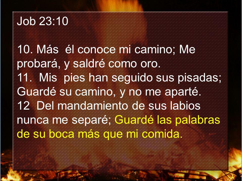 Job 23:10 10. Más él conoce mi camino; Me probará, y saldré como oro. 11. Mis pies han seguido sus pisadas; Guardé su camino, y no me aparté.