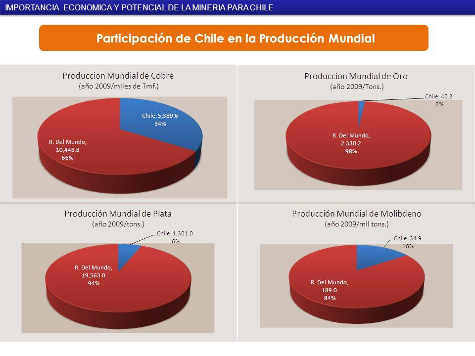 Participación de Chile en la Producción Mundial
