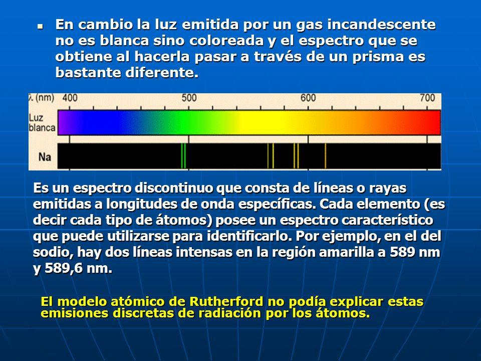 En cambio la luz emitida por un gas incandescente no es blanca sino coloreada y el espectro que se obtiene al hacerla pasar a través de un prisma es bastante diferente.