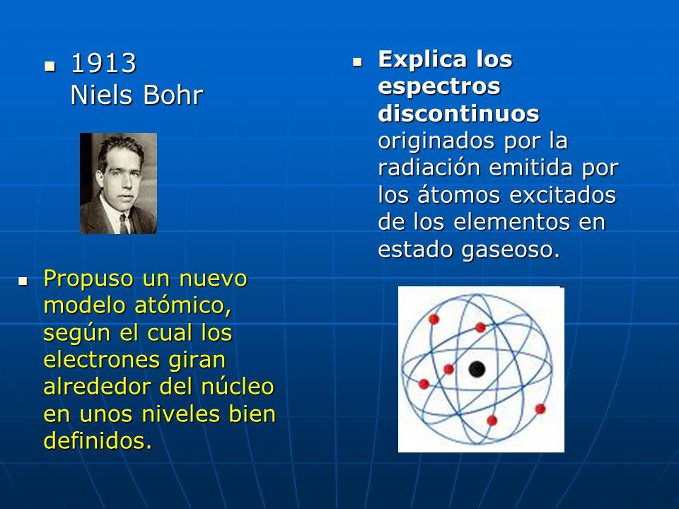 1913 Niels Bohr Explica los espectros discontinuos originados por la radiación emitida por los átomos excitados de los elementos en estado gaseoso.
