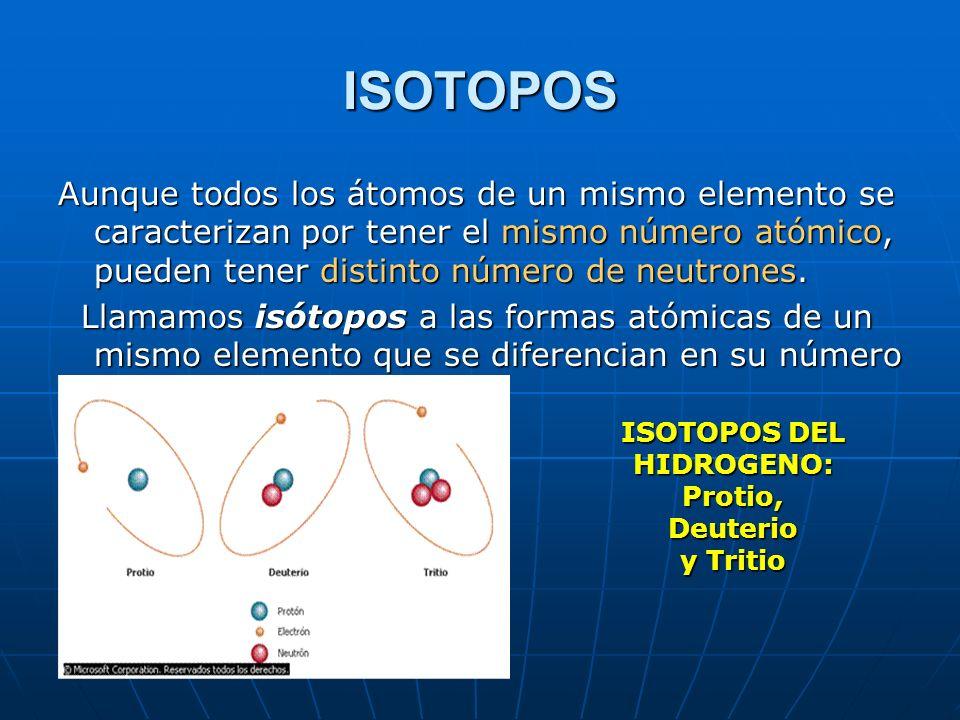 ISOTOPOS DEL HIDROGENO: Protio, Deuterio y Tritio