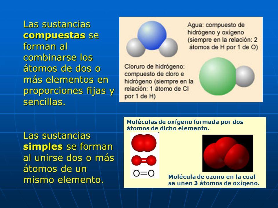 Las sustancias compuestas se forman al combinarse los átomos de dos o más elementos en proporciones fijas y sencillas.