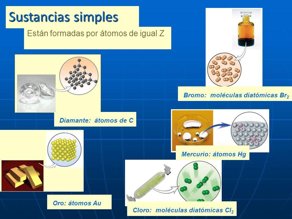 Sustancias simples Bromo: moléculas diatómicas Br2