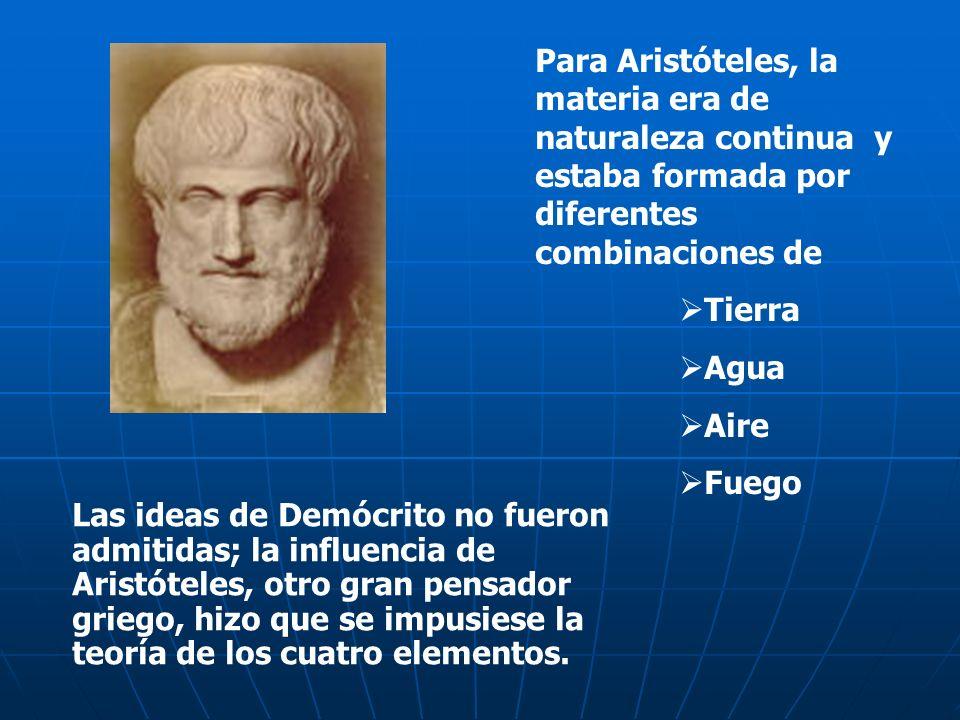 Para Aristóteles, la materia era de naturaleza continua y estaba formada por diferentes combinaciones de