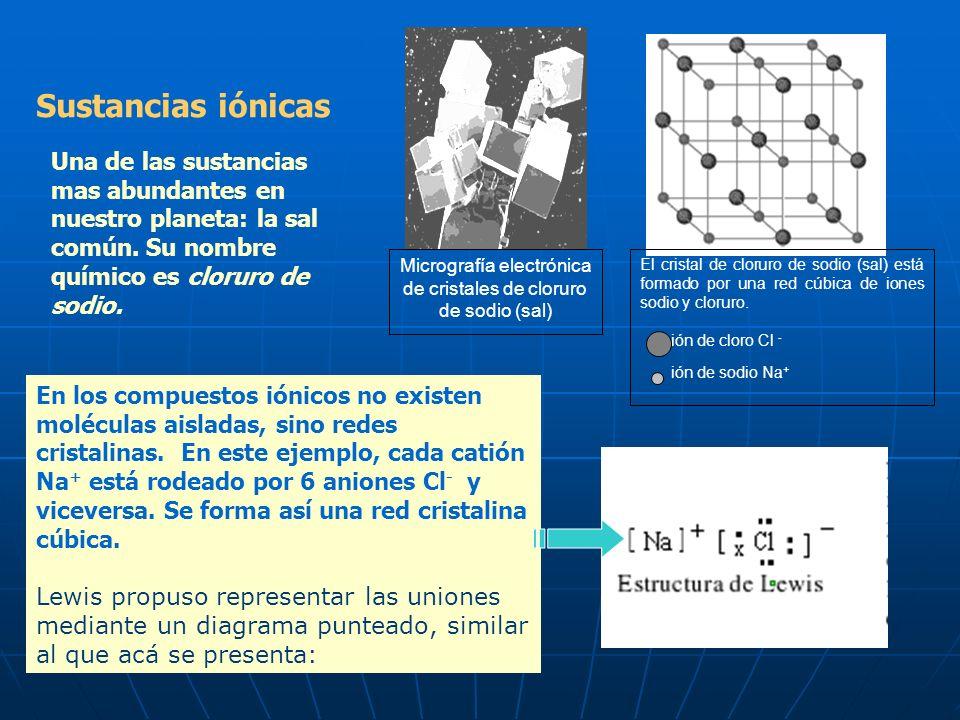 El cristal de cloruro de sodio (sal) está formado por una red cúbica de iones sodio y cloruro.