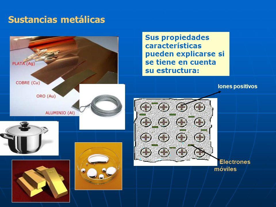 Sustancias metálicas Sus propiedades características pueden explicarse si se tiene en cuenta su estructura: