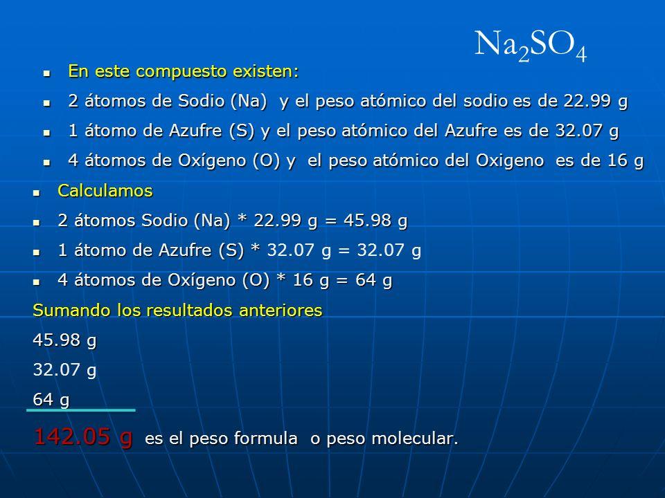 Na2SO4 142.05 g es el peso formula o peso molecular.
