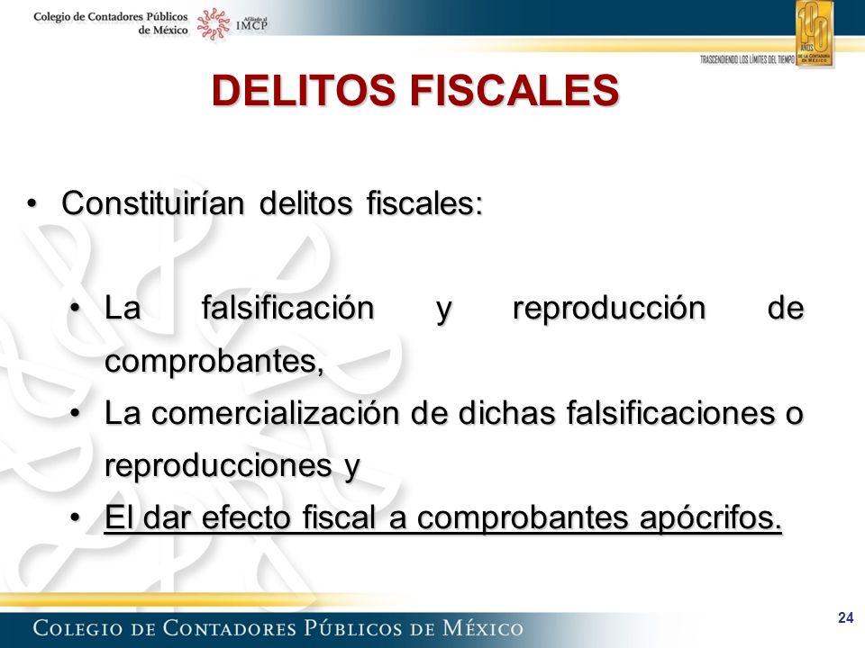 DELITOS FISCALES Constituirían delitos fiscales: