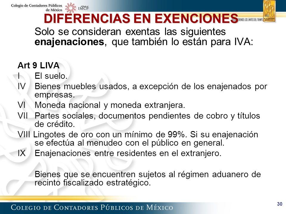 DIFERENCIAS EN EXENCIONES