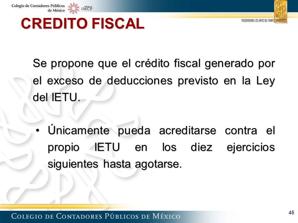 CREDITO FISCAL Se propone que el crédito fiscal generado por el exceso de deducciones previsto en la Ley del IETU.