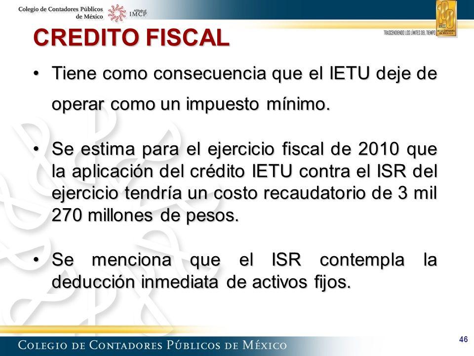 CREDITO FISCAL Tiene como consecuencia que el IETU deje de operar como un impuesto mínimo.