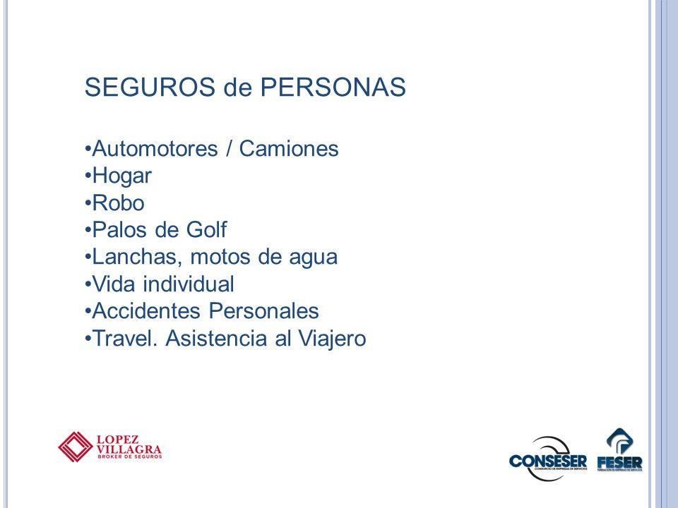 SEGUROS de PERSONAS Automotores / Camiones Hogar Robo Palos de Golf