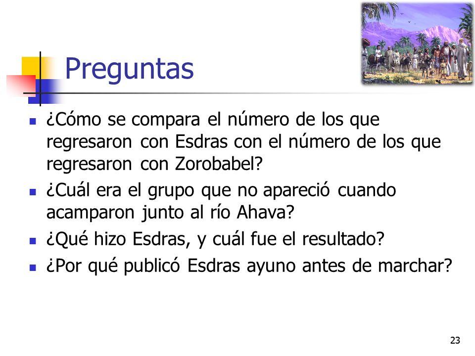 Preguntas ¿Cómo se compara el número de los que regresaron con Esdras con el número de los que regresaron con Zorobabel