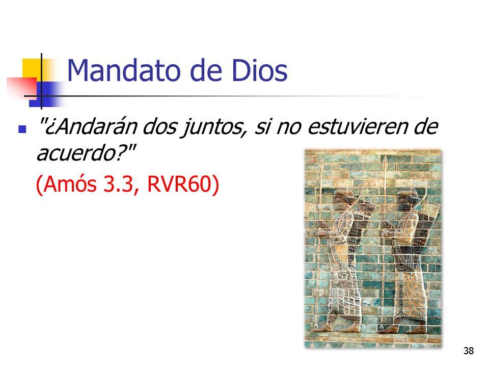 Mandato de Dios ¿Andarán dos juntos, si no estuvieren de acuerdo