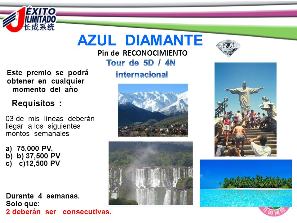 AZUL DIAMANTE Pin de RECONOCIMIENTO Tour de 5D / 4N internacional