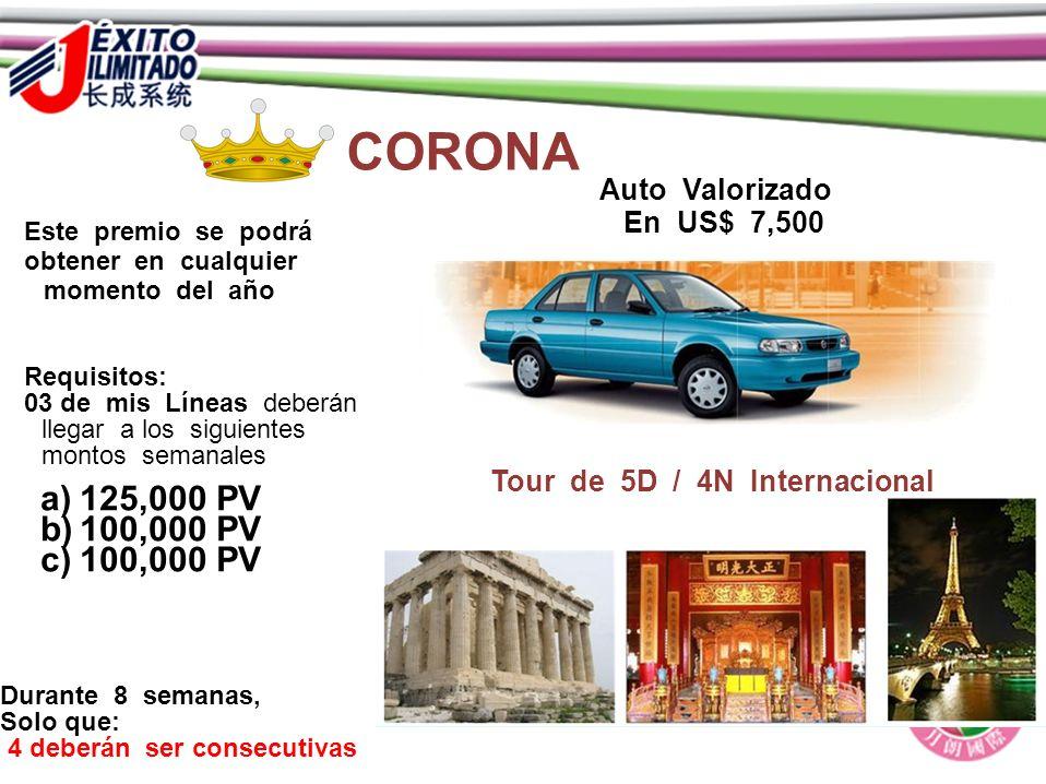 CORONA 125,000 PV 100,000 PV Auto Valorizado En US$ 7,500