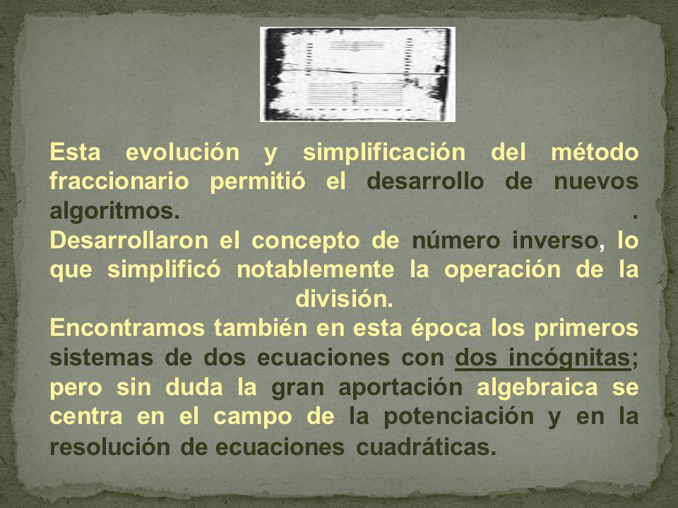 Esta evolución y simplificación del método fraccionario permitió el desarrollo de nuevos algoritmos.