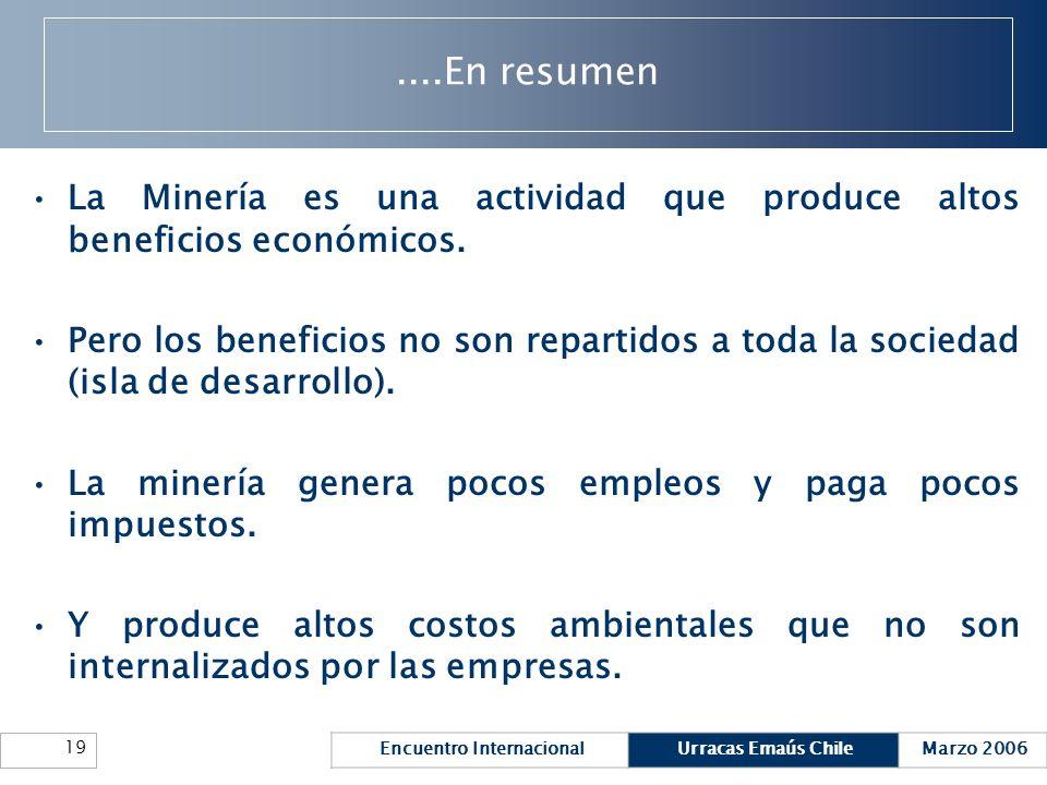 ....En resumen La Minería es una actividad que produce altos beneficios económicos.