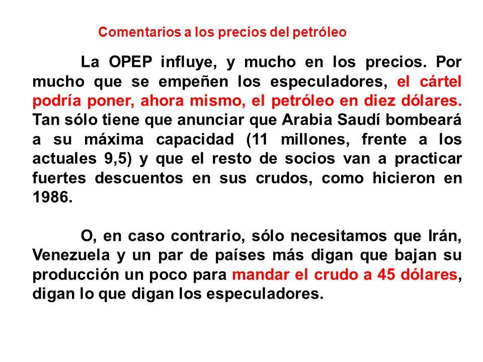 Comentarios a los precios del petróleo