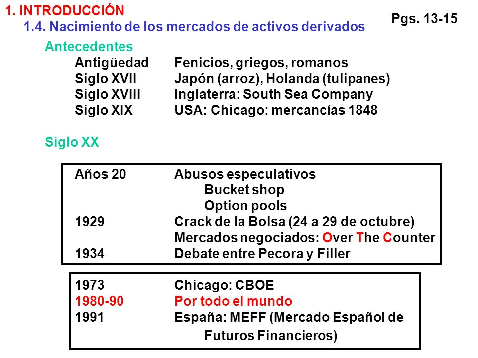 1. INTRODUCCIÓN 1.4. Nacimiento de los mercados de activos derivados. Pgs. 13-15. Antecedentes. Antigüedad Fenicios, griegos, romanos.