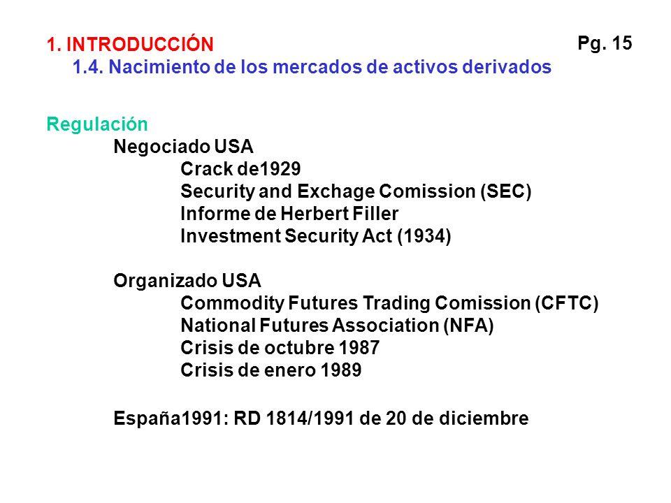 1. INTRODUCCIÓN 1.4. Nacimiento de los mercados de activos derivados. Pg. 15. Regulación. Negociado USA.