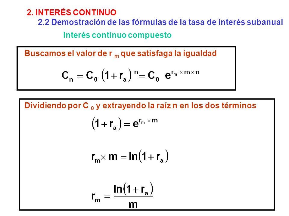 2. INTERÉS CONTINUO 2.2 Demostración de las fórmulas de la tasa de interés subanual. Interés continuo compuesto.