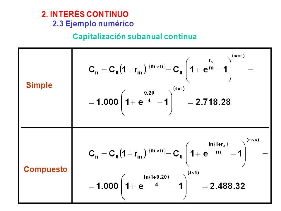 2. INTERÉS CONTINUO 2.3 Ejemplo numérico Capitalización subanual continua Simple Compuesto