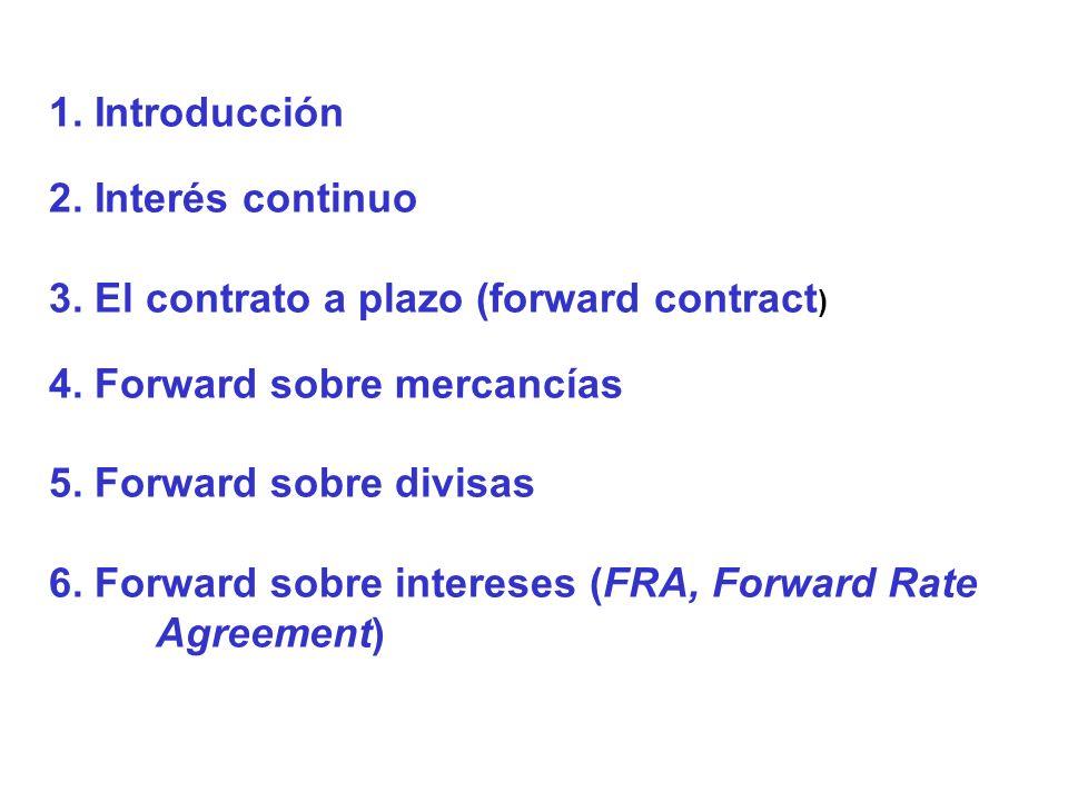 1. Introducción 2. Interés continuo. 3. El contrato a plazo (forward contract) 4. Forward sobre mercancías.